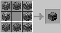 Receta de crafteo para el horno en Minecraft.
