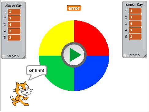 Clase extraescolar de programación, ejercicio de programación, comparación de listas con Scratch