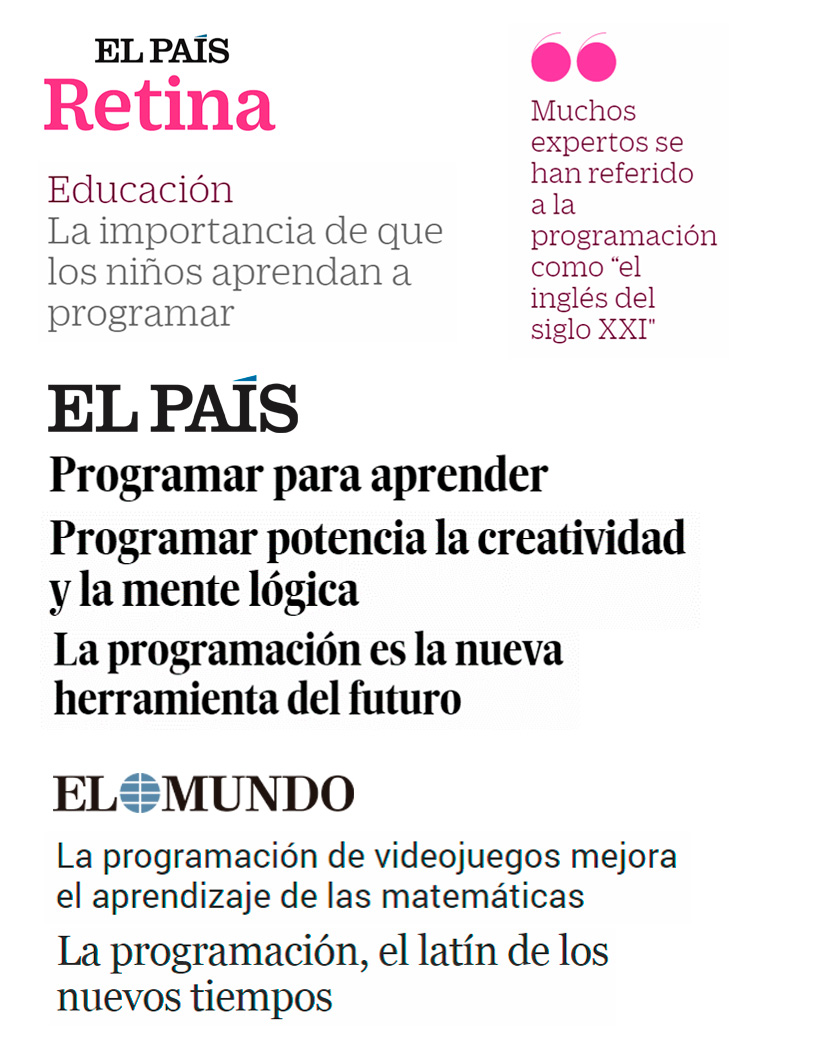 Titulares en prensa sobre la importancia de la programación